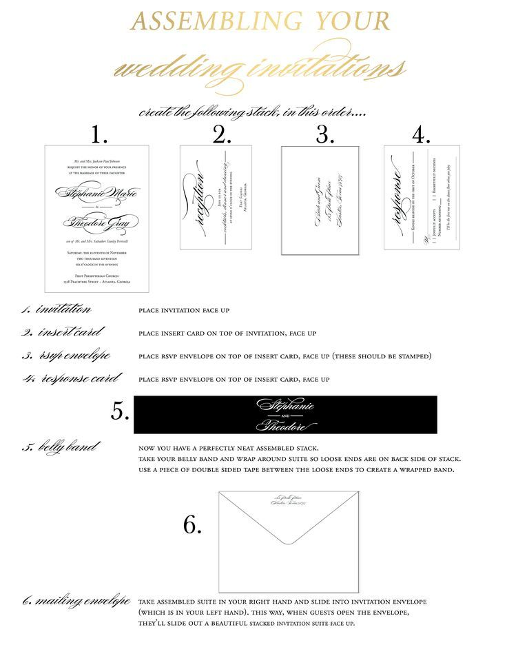 Quick And Easy How To Assemble Wedding Invitation Cheat Sheet