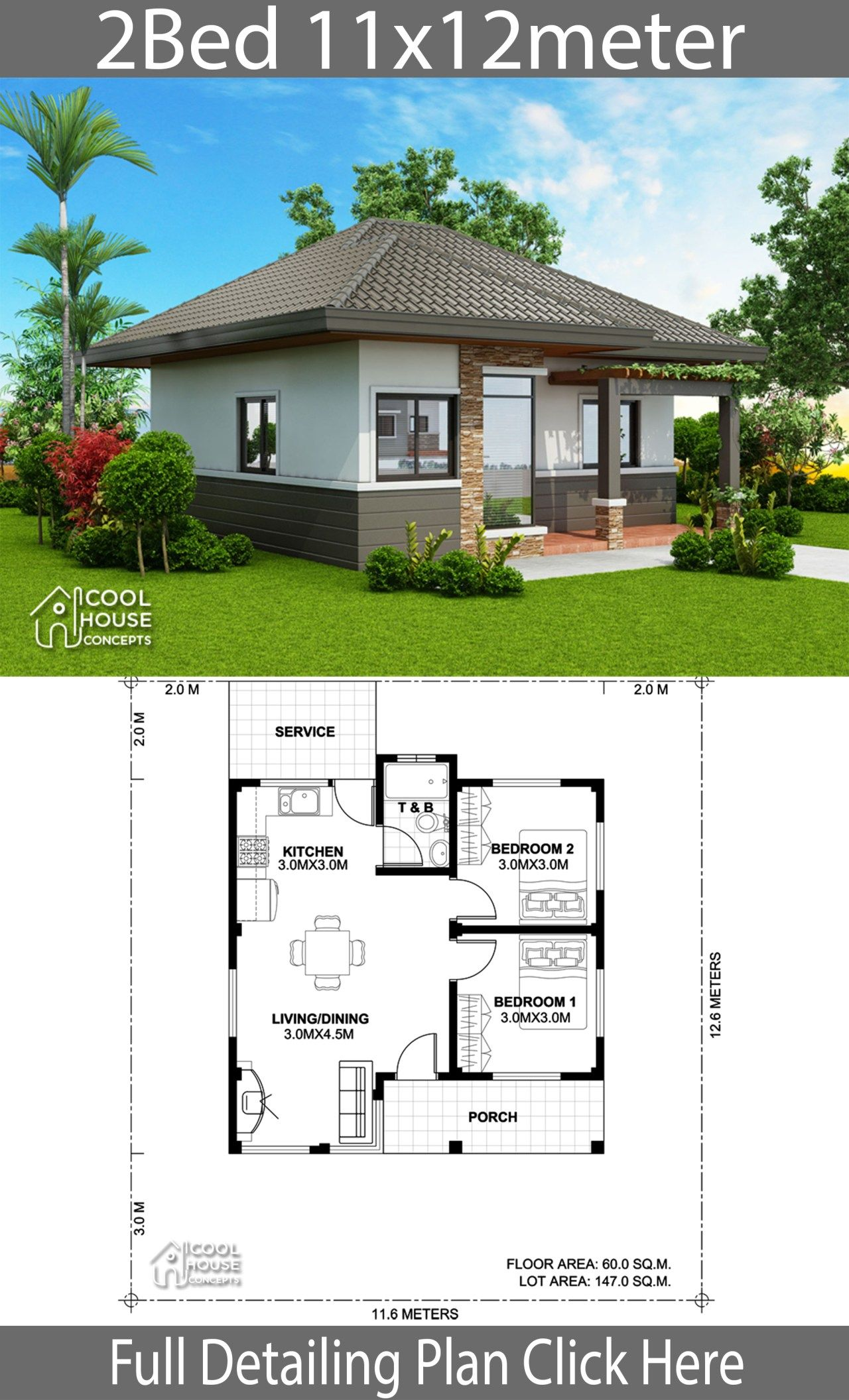 Home Design Plan 11x12m With 2 Bedrooms Home Ideas Home Design Plan House Design Home Design Plans