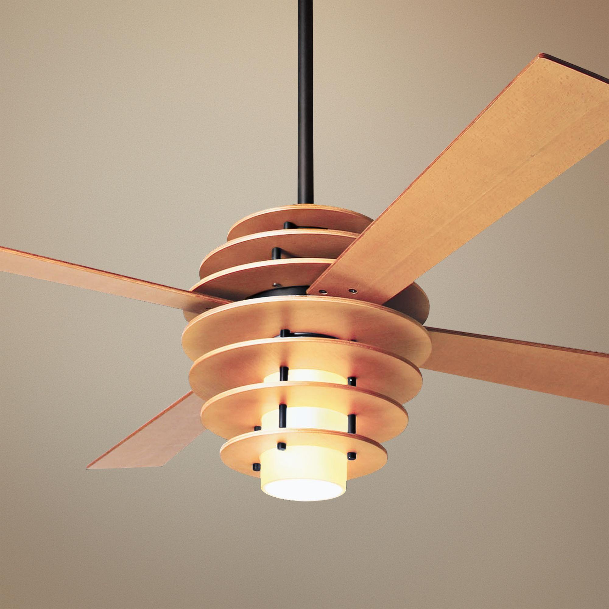 """Mid Century Modern Ceiling Fan: 52"""" Modern Fan Stella Maple And Dark Bronze Ceiling Fan"""