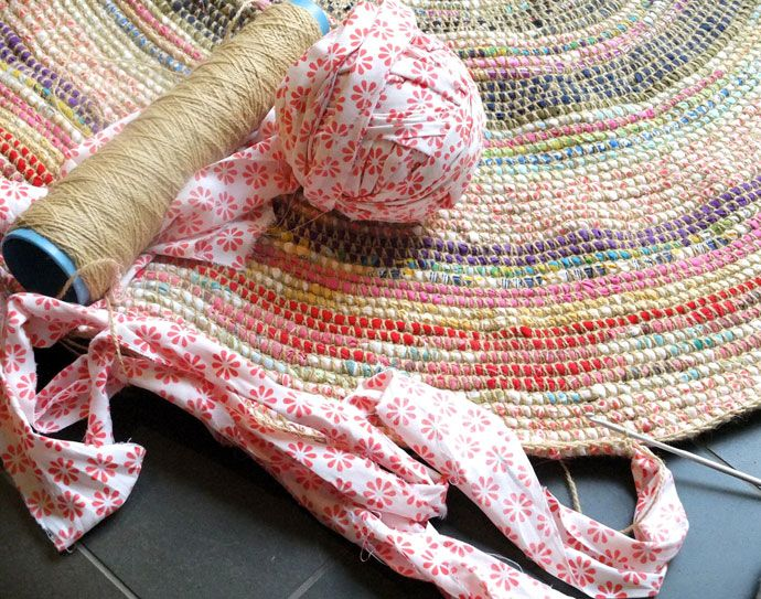 I WILL make this someday!!! Coil + Crochet Scrap Fabric Rug DIY | My Poppet Makes
