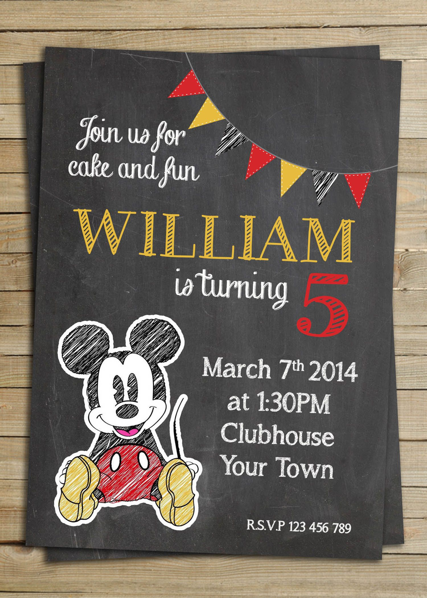Mickey Mouse Chalkboard birthday party invitation , Digital ...