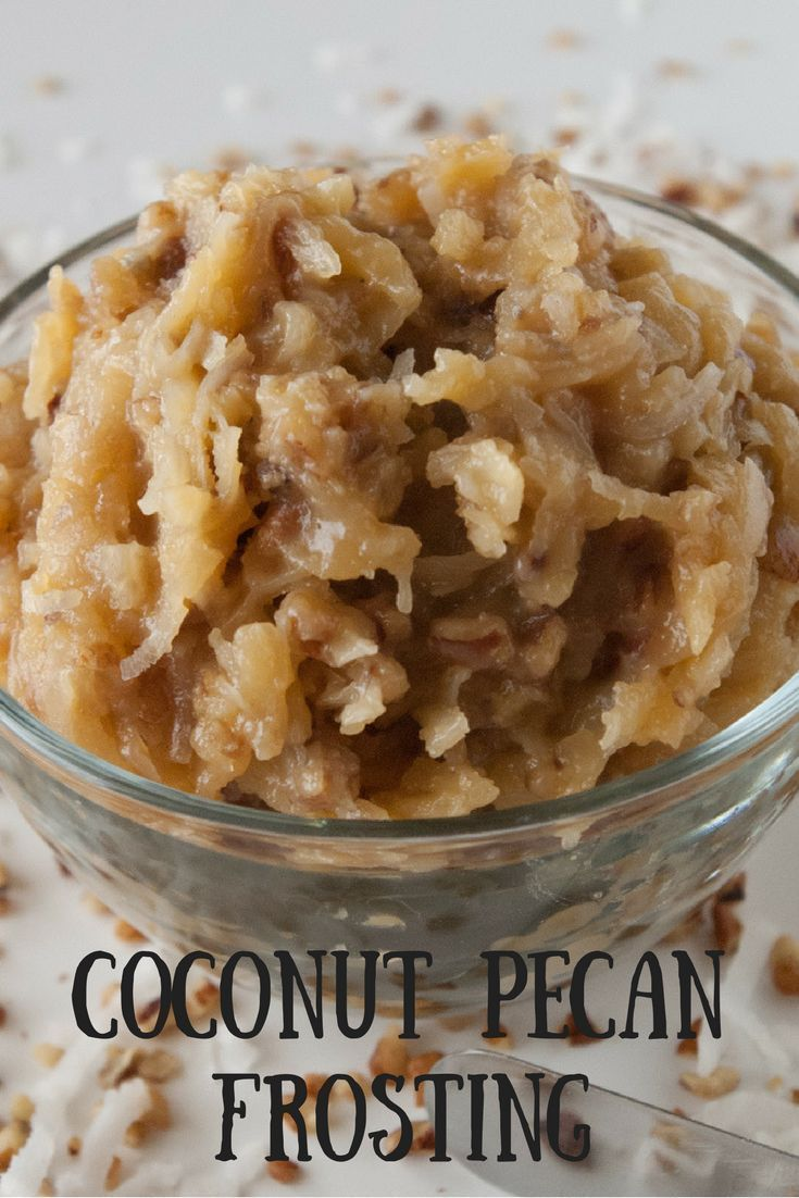 Coconut Pecan Frosting- German chocolate cake isn't german chocolate cake without coconut pecan frosting. You'll love how easy it is to make it from scratch! via @https:///mindeescooking/ Pecan Frosting