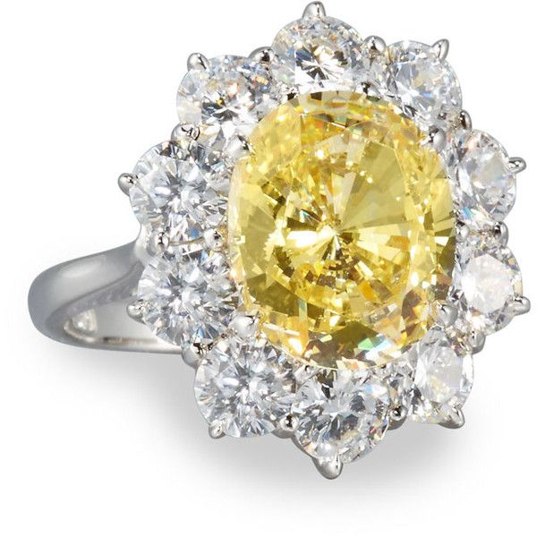 Fantasia Oval Canary & Clear CZ Crystal Flower Ring bQukTUdjRO