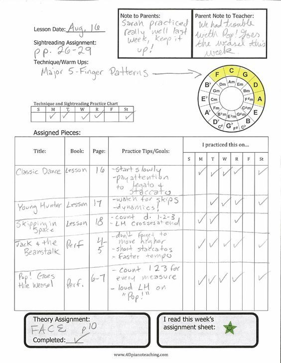 New Assignment Sheet \u2013 Free Printable 4dpianoteaching music - printable assignment sheet