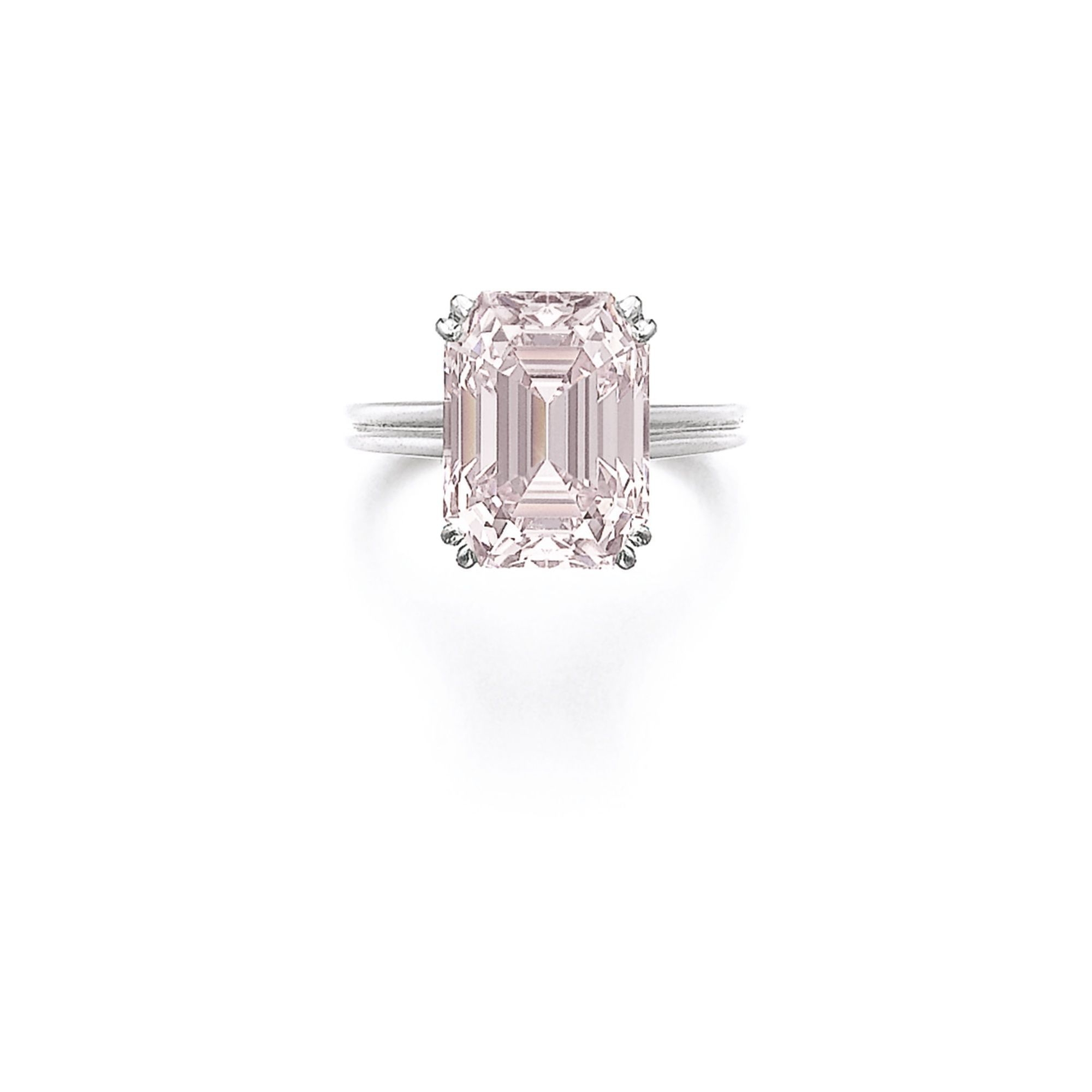 Fancy intense pink diamond ring set with a stepcut fancy intense