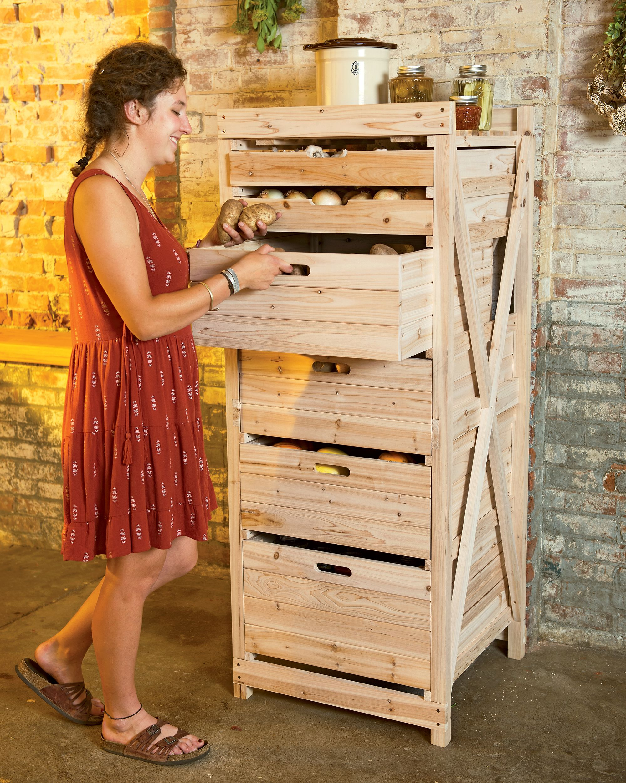 Vegetable Storage Rack Has Deep Drawers For Dark