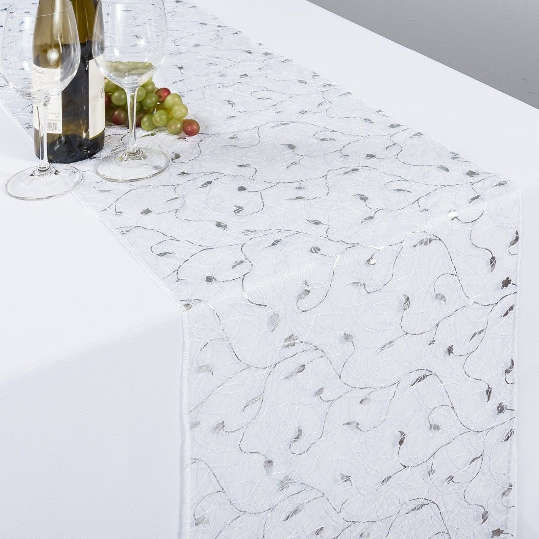 Organza Table Runner White With Silver Vines