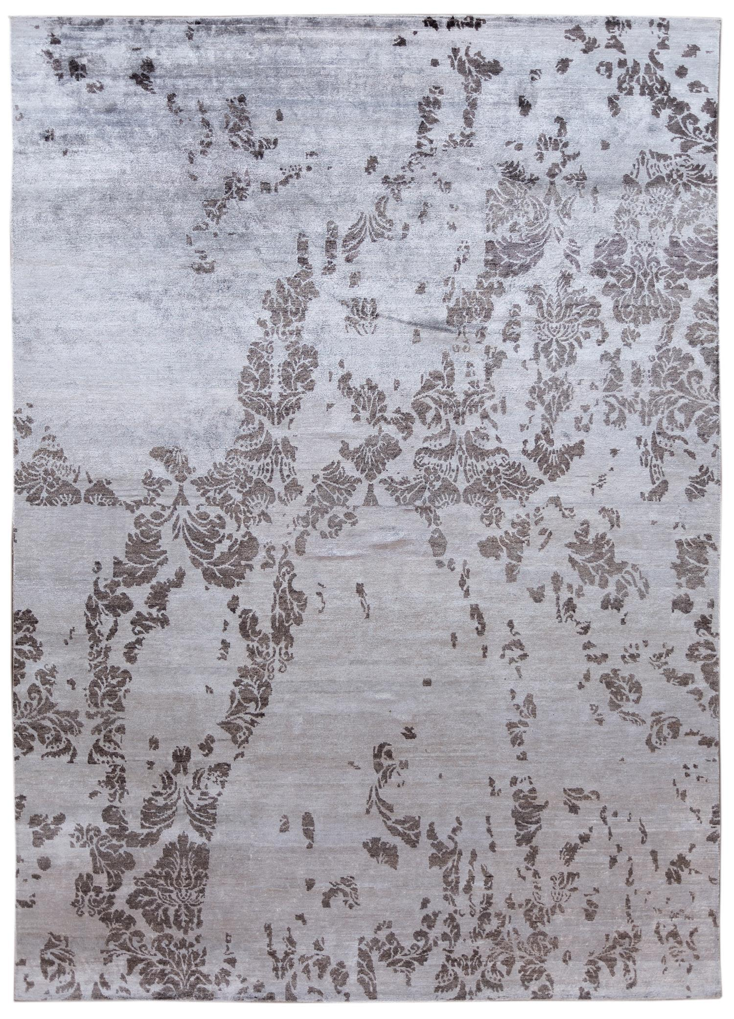 Contemporary Abstract Grey Silk Area Rug 10x14 Floral Rug Rugs Floral