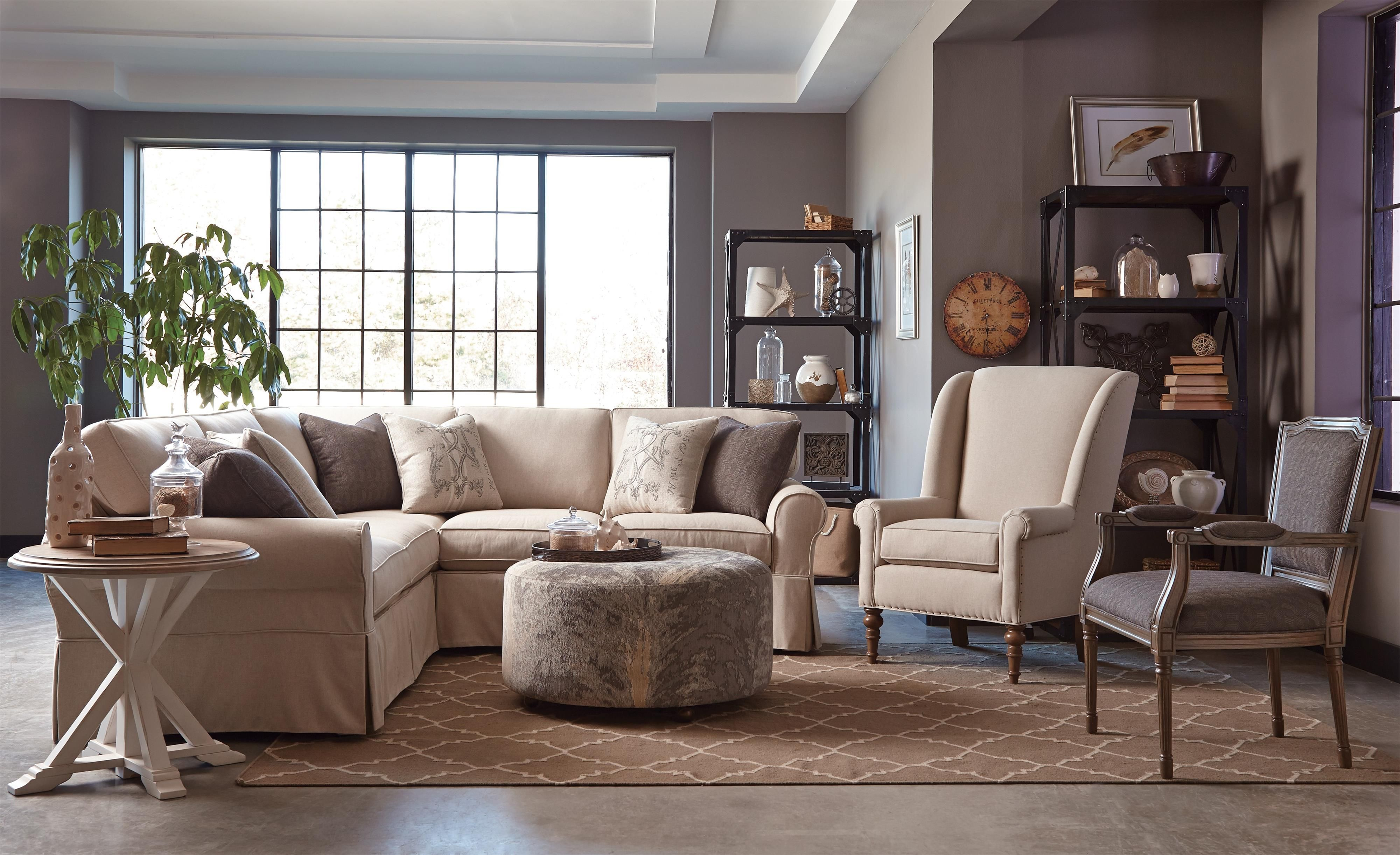 Hickorycraft 922800 Two Piece Slipcovered Sectional Sofa With Raf