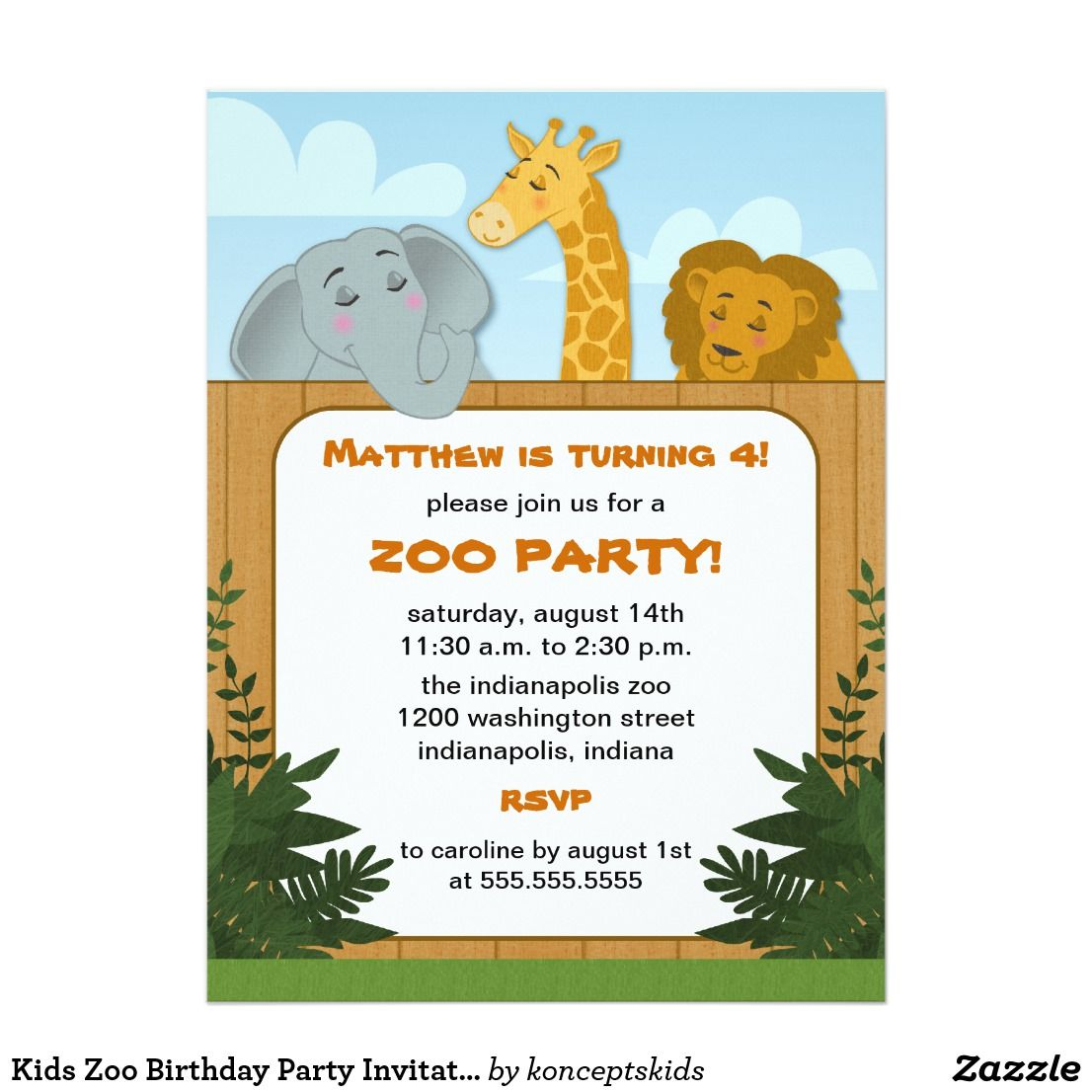 Kids Zoo Birthday Party Invitations | Zoo birthday, Party ...