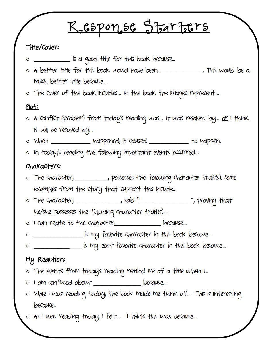Response Starters Pdf Google Drive Reading Response Journals 3rd Grade Reading Reading Classroom [ 1248 x 964 Pixel ]
