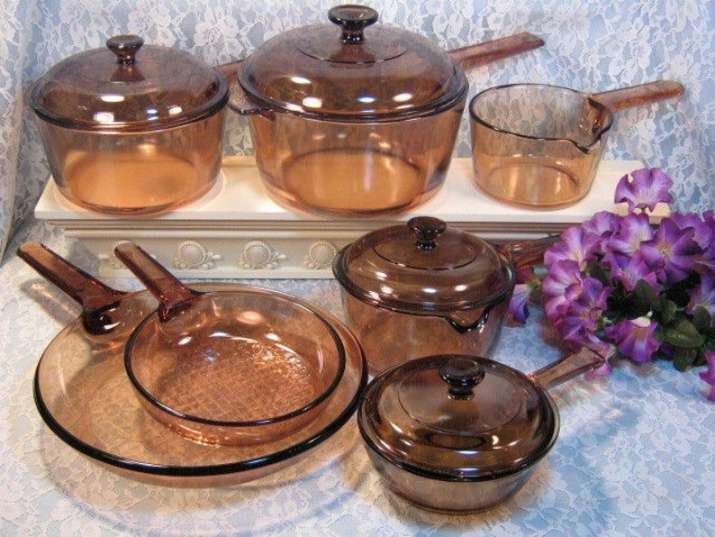 On Sale Vintage Kitchen Corning Ware Visions BrownAmber  Glass Dutch Oven Cooking Pot 1.5 Liter