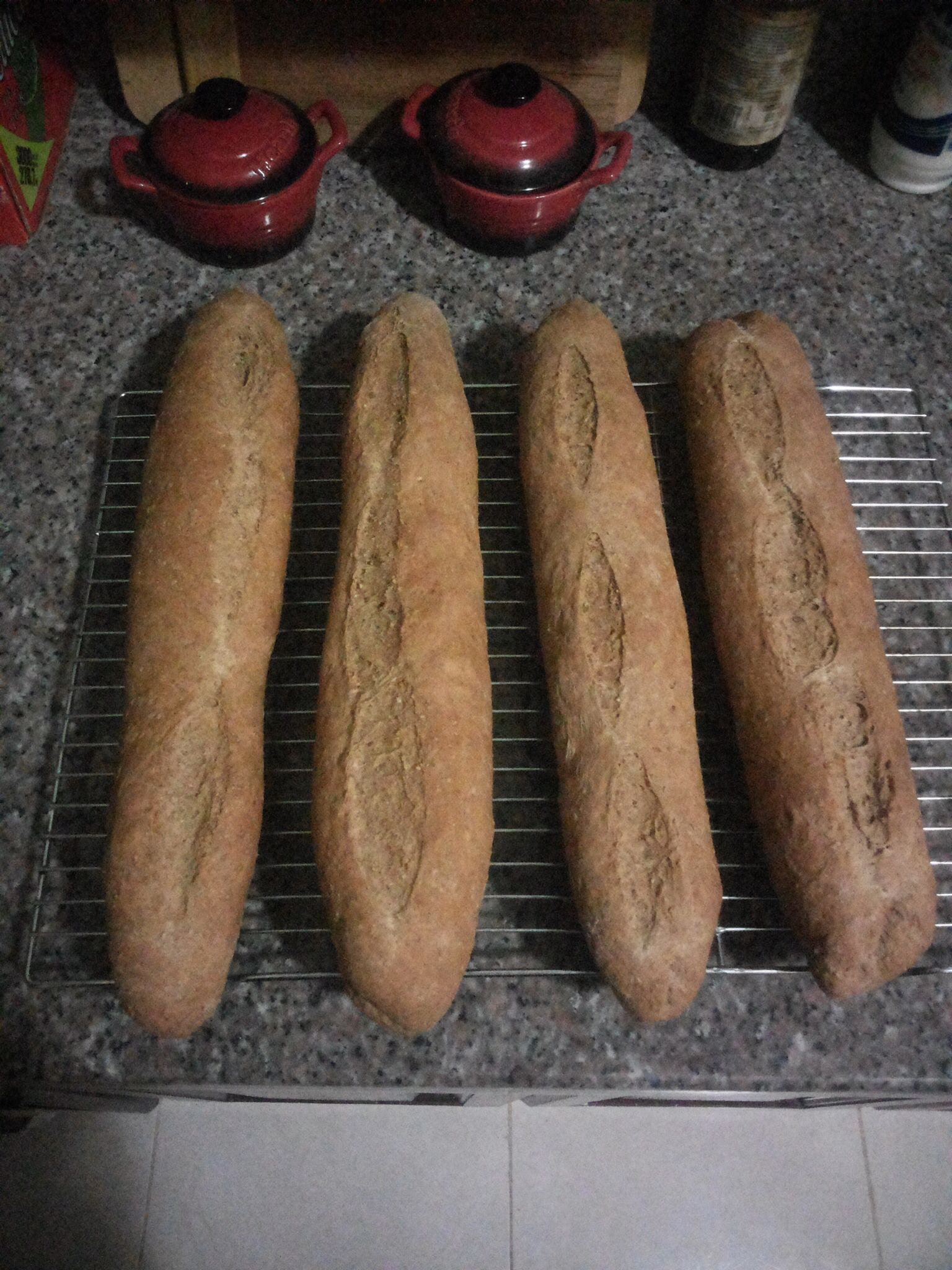 Whole wheat baguette, integral Facebook. O' petit pan vegana