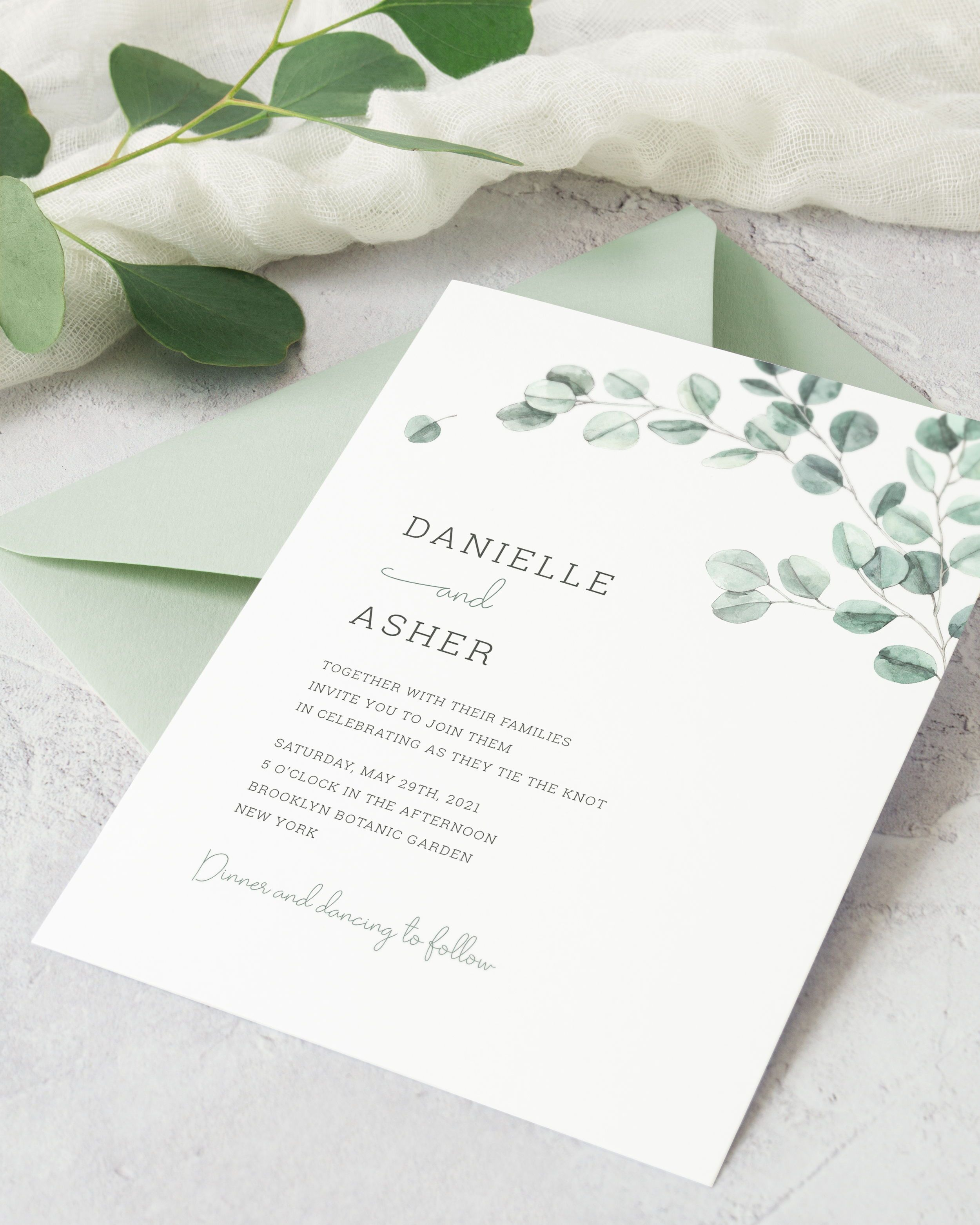Eucalyptus Wedding Invitation Template Printable Sage Green