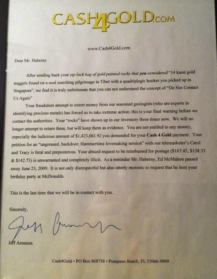 rejection letter from jeff aronson www cash4gold com quirky
