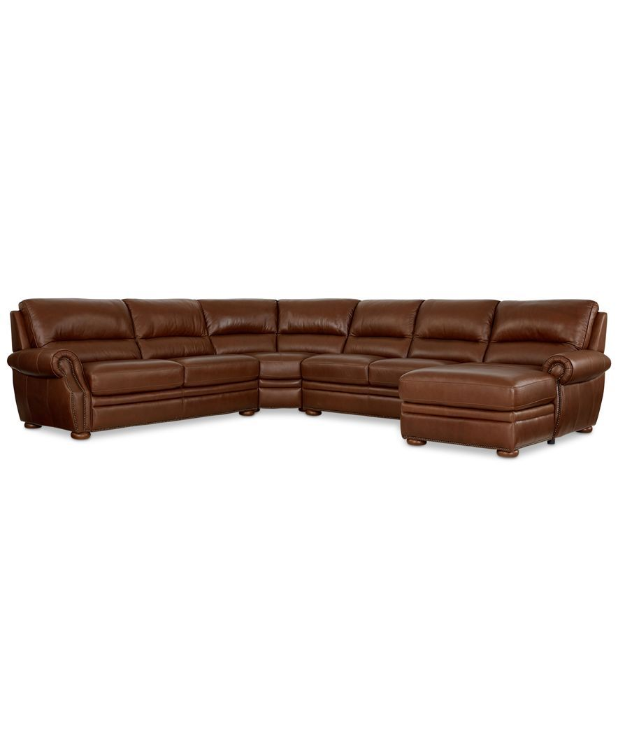Royce Leather 4-Piece Chaise Sectional Sofa
