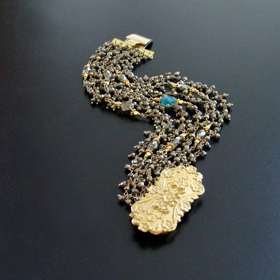 French Rococo Clasp Pyrite & Apatite by karensugarmandesigns, $625.00
