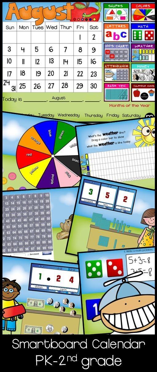 Kindergarten Calendar Interactive Whiteboard : Smartboard forever calendar sunny day circle meeting
