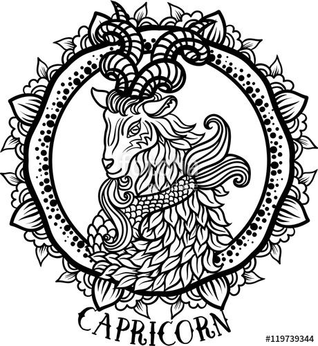18172ae53 Capricorn in aztec style coloring page Fairy Coloring, Adult Coloring  Pages, Colouring, Zodiac
