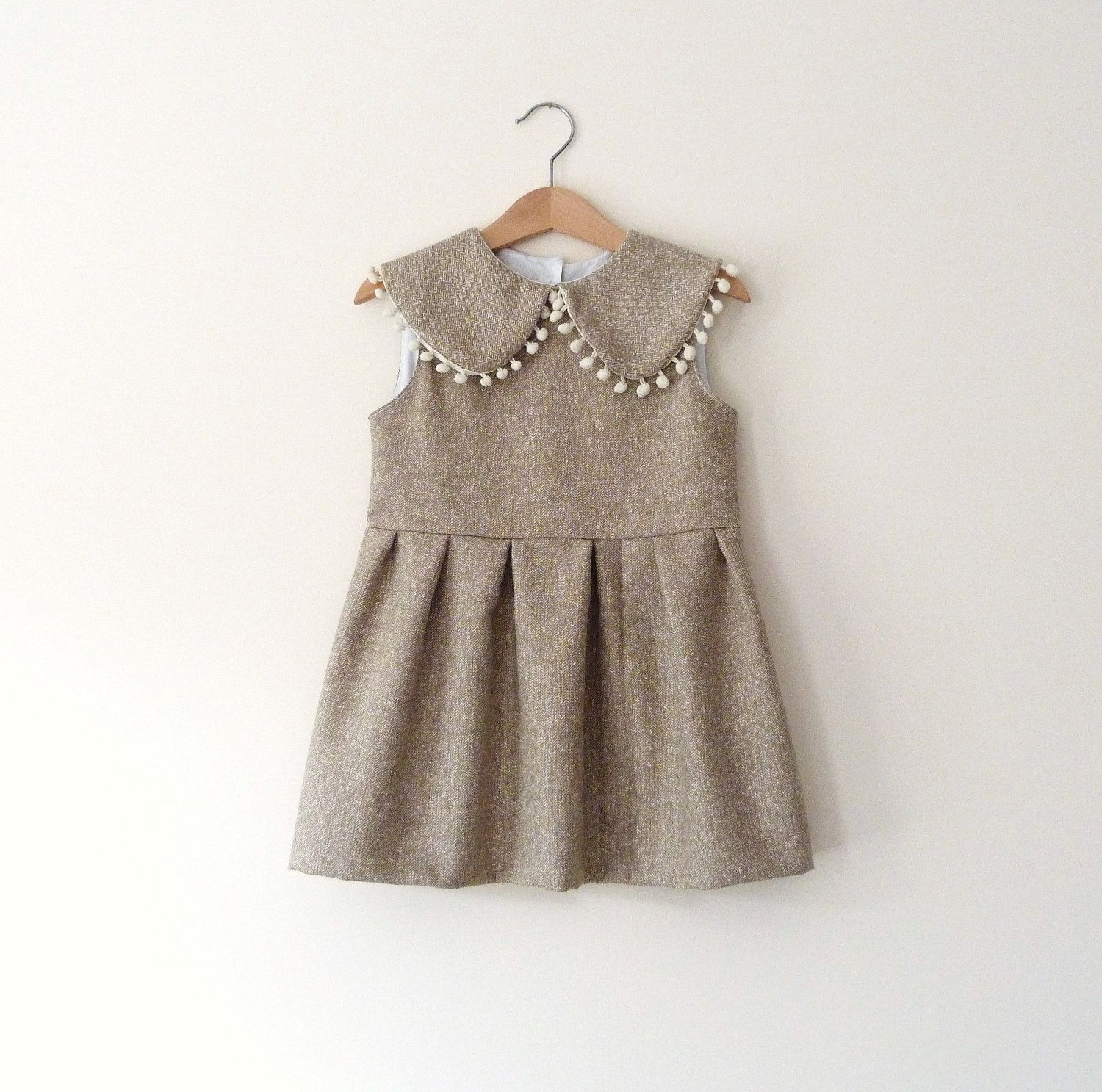 Fall Wool Dress in Sand With Peter Pan Collar and Pom Poms $62 00