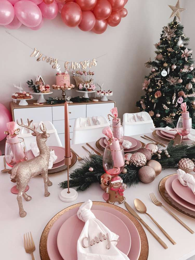 Blush Christmas Christmas Holiday Party Ideas Rose Gold Christmas Pink Christmas Decorations Pink Christmas Table