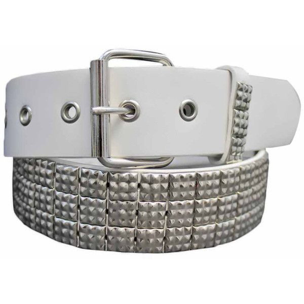 White Silver 3 Row Studded Belt ($13) ❤ liked on Polyvore featuring accessories, belts, white, punk rock belts, studded belt, grommet belt, white belt and silver studded belt