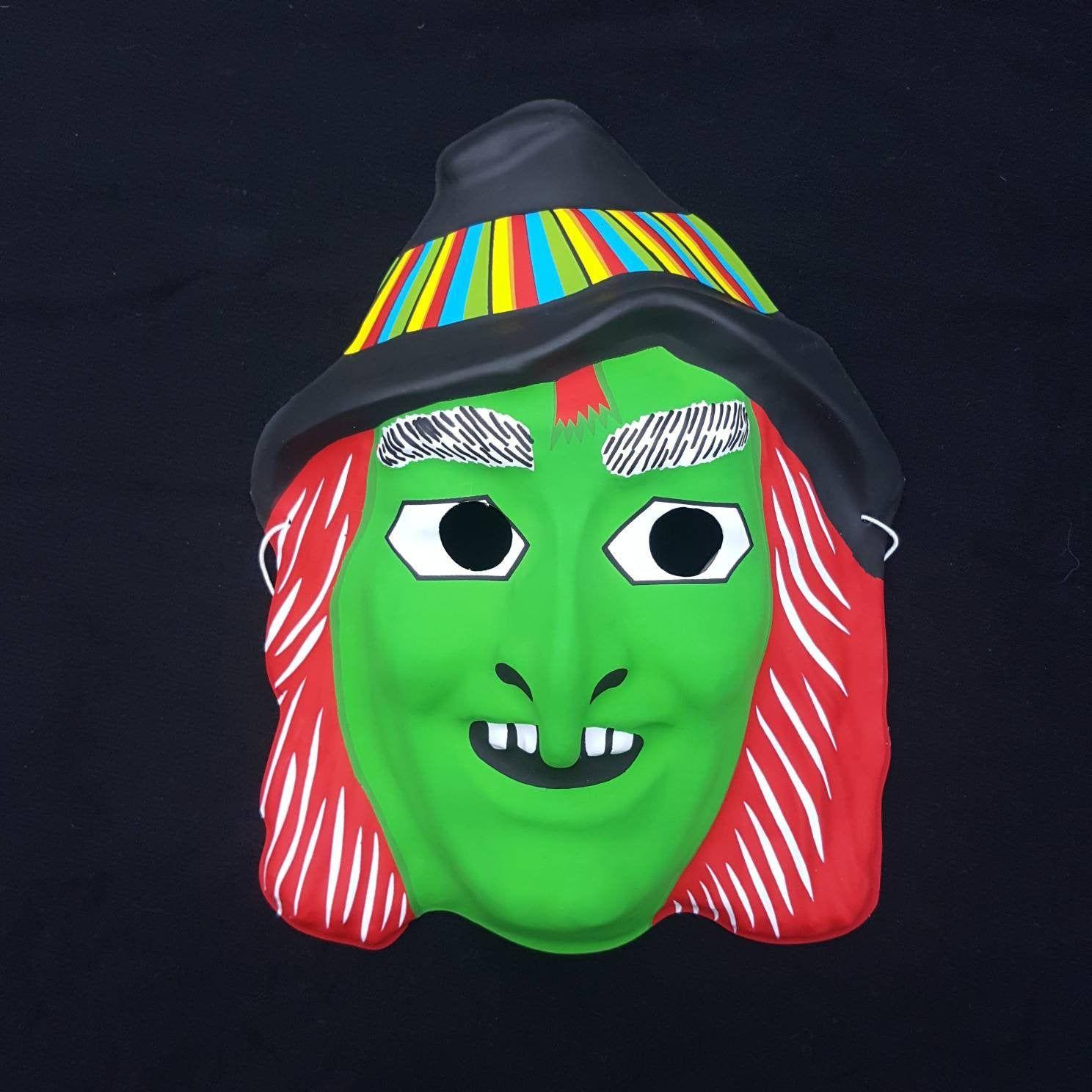 Vintage 1990s Plastic Green Cartoon Witch Mask Cartoon