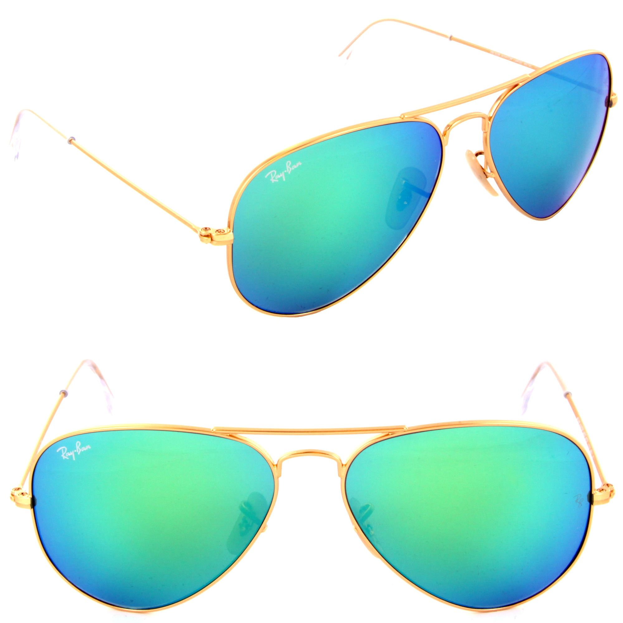 ac438aa018 Ray Ban RB 3025 112 19 Metal Aviator Gold Green Mirror Sunglasses 55 or  58mm