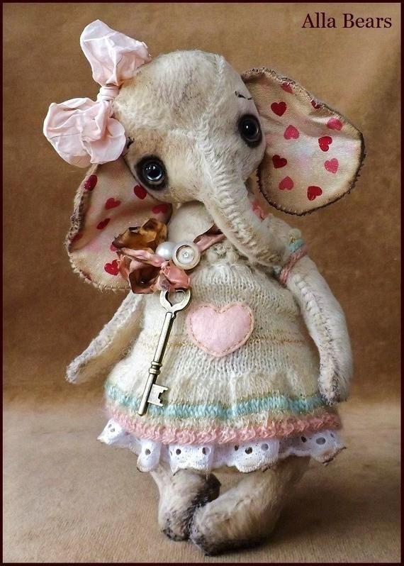 Alla Bären original Künstler Elefant Ellie Kunst Puppe Vintage antike Baby han