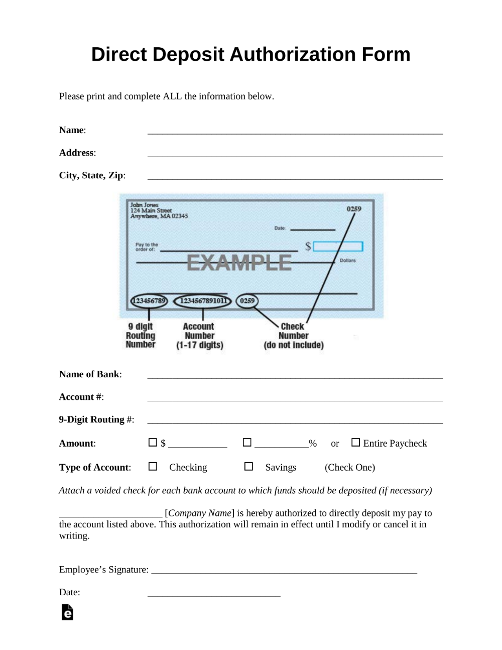 Free Direct Deposit Authorization Forms PDF Word