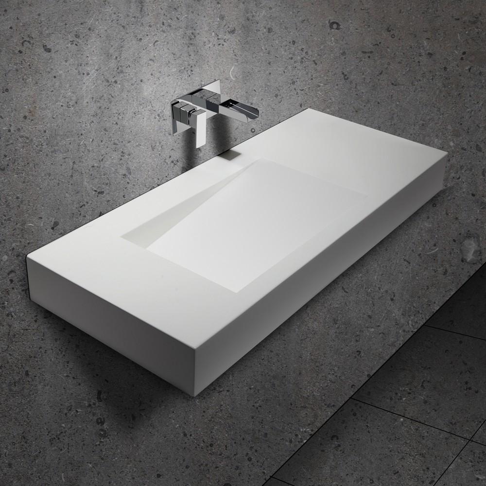 Rectangular Stone Resin Wall Mount Bathroom Sink Floating Sink In