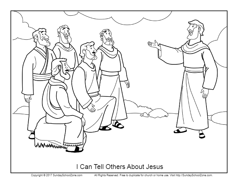 I Can Tell Others About Jesus Coloring Page On Sunday School Zone Jesus Coloring Pages Bible Coloring Pages Bible For Kids