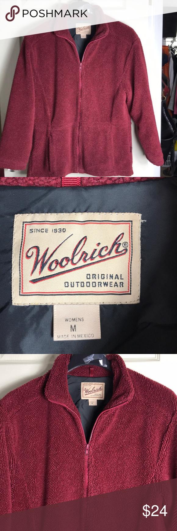 Vintage woolrich burgundy polar fleece jacket polar fleece zip