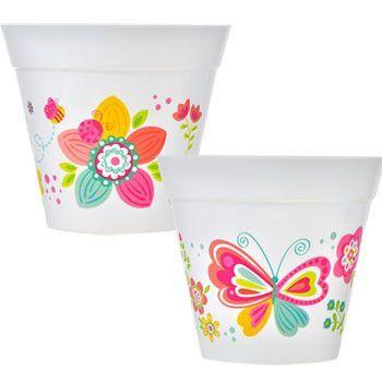 Decorative White Plastic Planter Pot 6 In Products Planter
