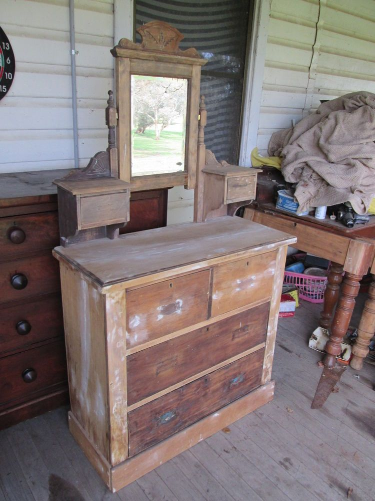 Australian Pine Furniture #1   ANTIQUE AUSTRALIAN PINE CHEST OF DRAWERS  /DRESSING TABLE