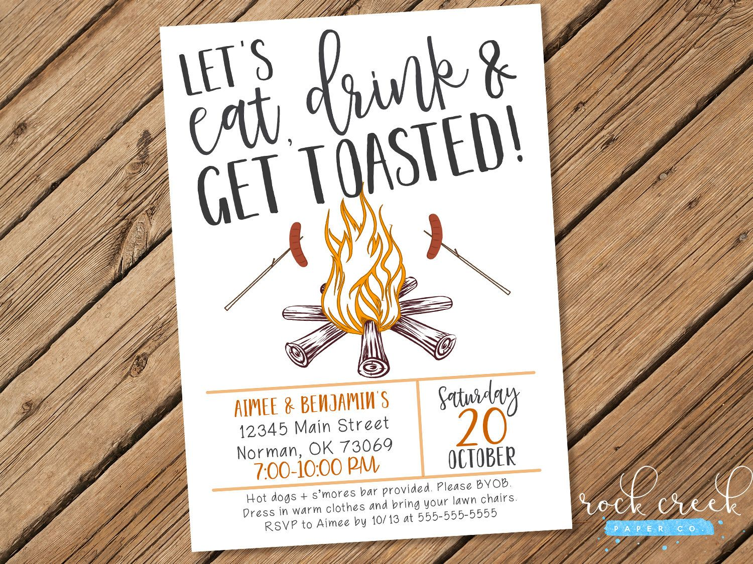 Eat Drink & Get Toasted Invitation, Bonfire Party Invitation ...