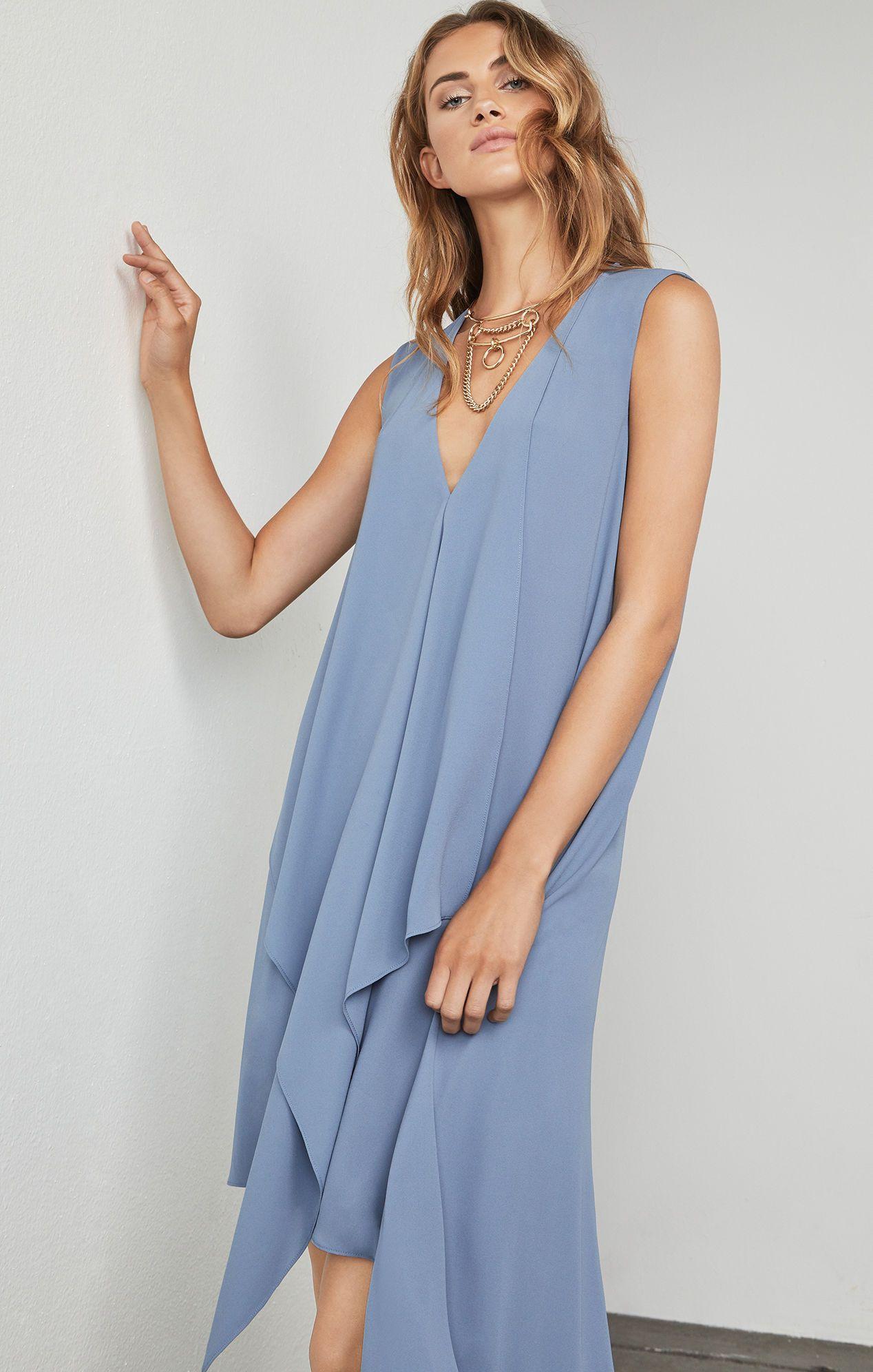 Long sleeveless light blue simple bridesmaid dress