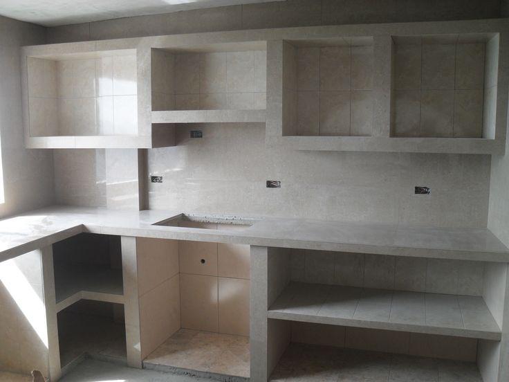 Bajo mesada en mamposter a cocinas pinterest bajos y for Modelos de cocinas empotradas en cemento y porcelanato
