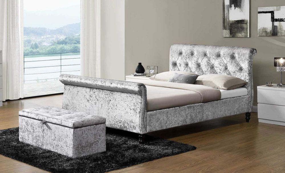 New Silver Crushed Velvet Fabric Upholstered Sleigh Bed Frame Double ...