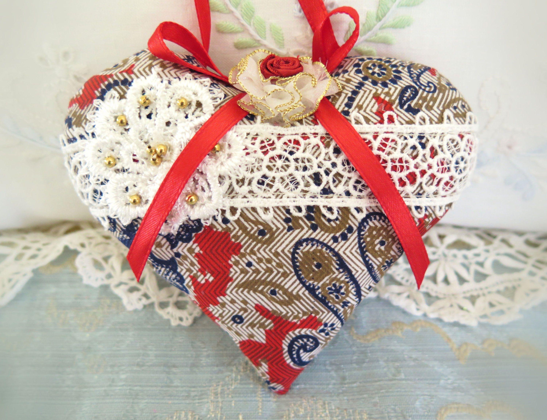 RED TARTAN Christmas Hearts Fabric Tree Decorations door Ornaments x5 homemade
