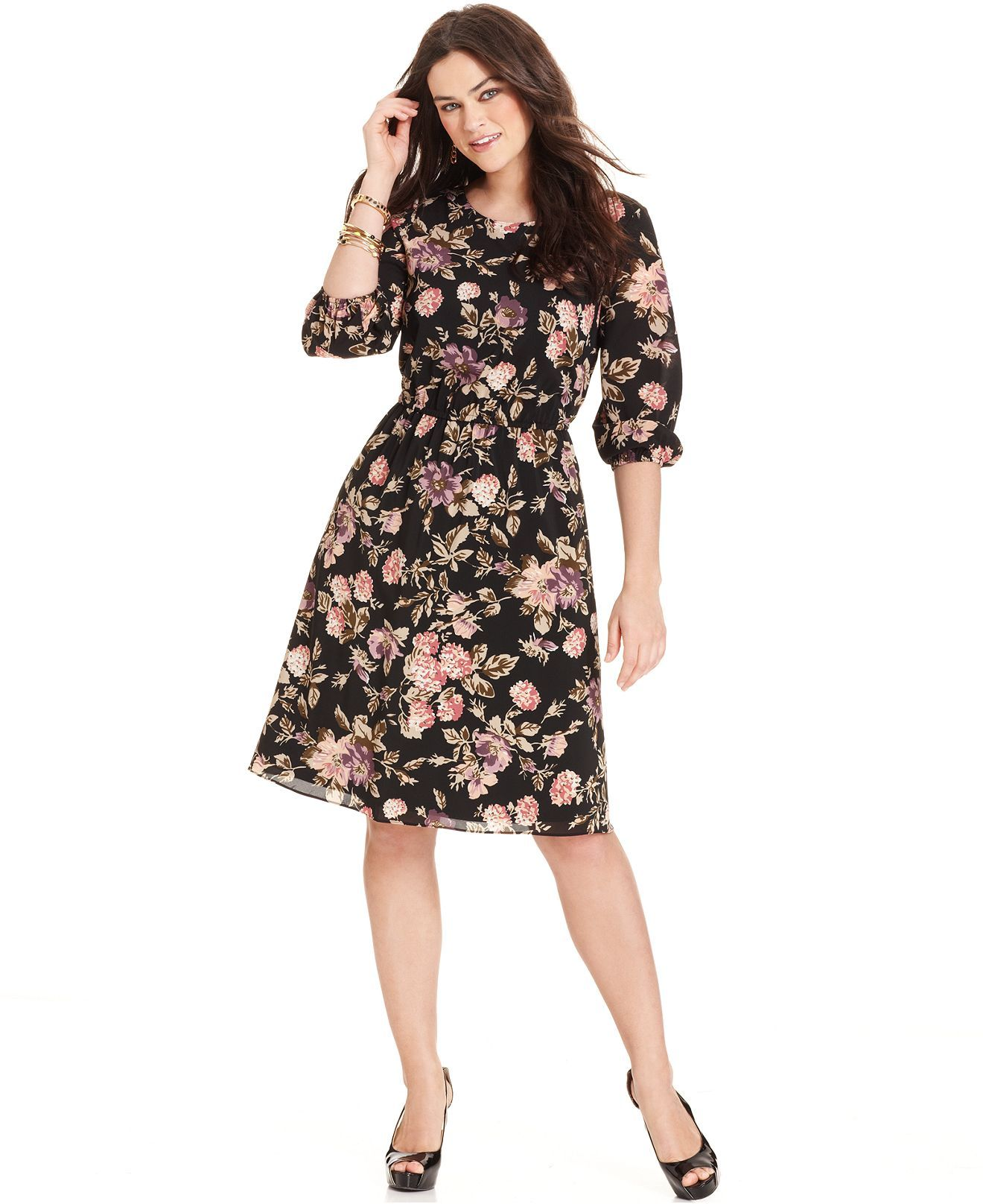 Ing Plus Size Dress Three Quarter Sleeve Floral Print A Line Plus
