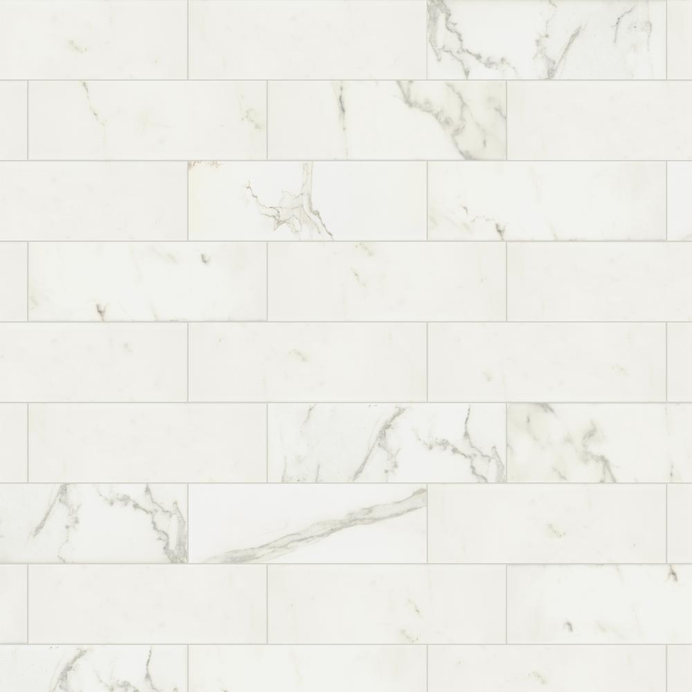 Marazzi Developed By Nature Calacatta 4 In X 12 In Glazed Ceramic Wall Tile 0 38 Sq Ft Piece Dn11412modhd1p2 The Home Depot Ceramic Wall Tiles Wall Tiles Glazed Ceramic
