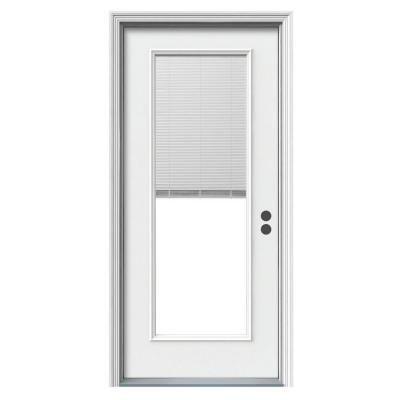 Jeld Wen 1 Lite Tilt And Raise Primed Steel Prehung Front Door O37617 The Home Depot Steel Entry Doors Mini Blinds Entry Doors