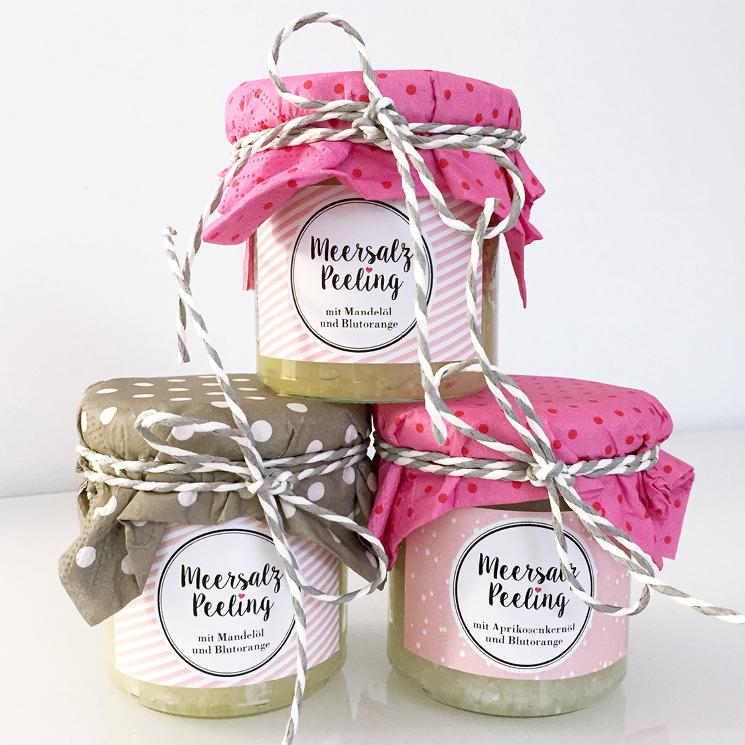 Meersalz-Peeling für weiche Haut, DIY Nikolaus-Geschenk #nikolausgeschenkeselbermachen