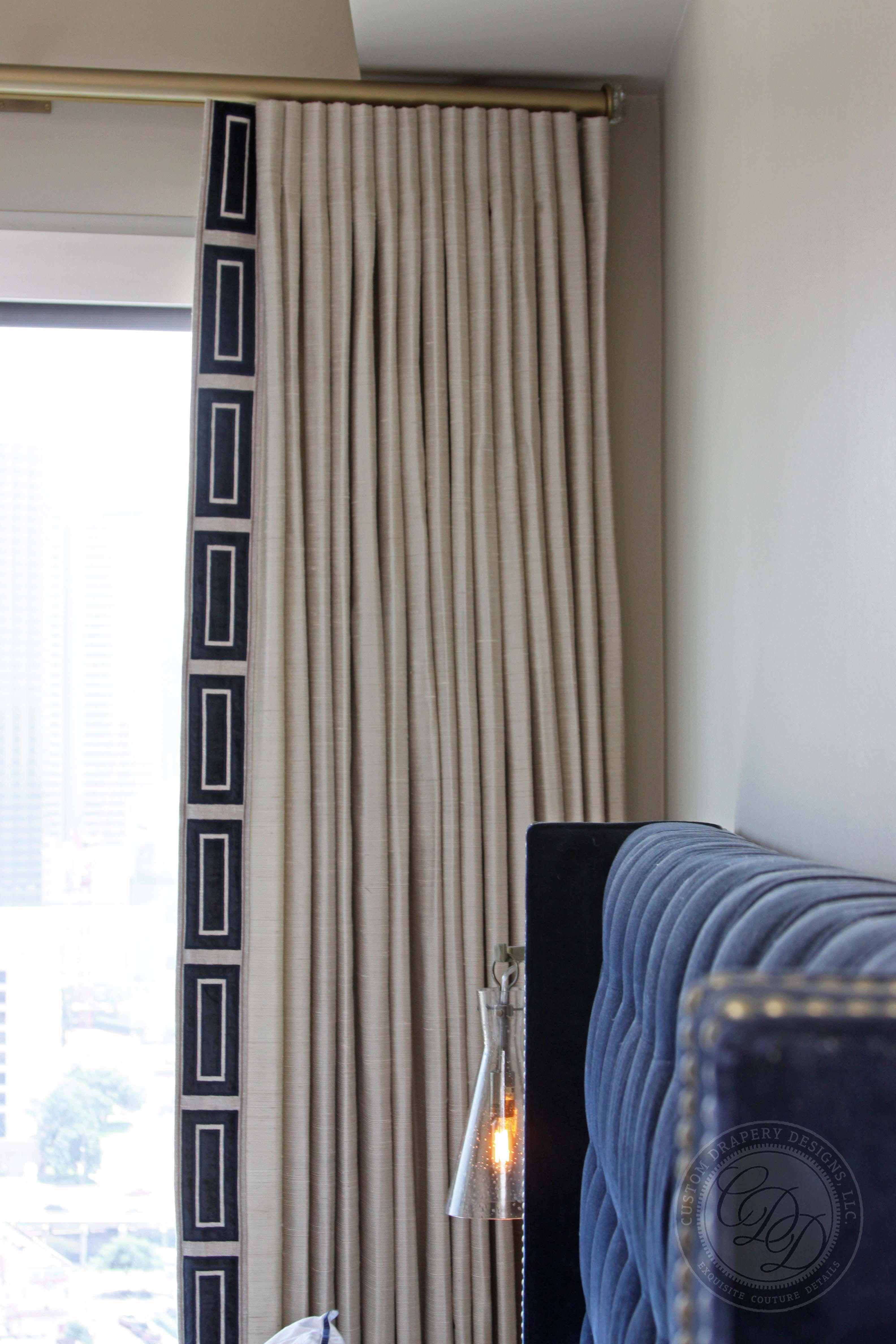 Kitchen nook window treatments  modern midnight blue trim with silk fabric  cortinas  pinterest