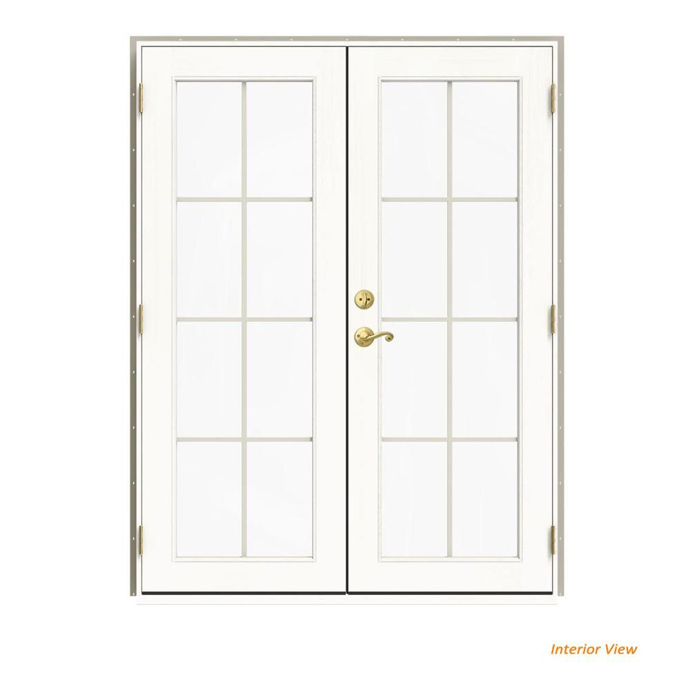 Jeld Wen 60 In X 80 In W 2500 Desert Sand Clad Wood Left Hand 8 Lite French Patio Door W White Paint Interior French Doors Patio Patio Doors Interior Paint