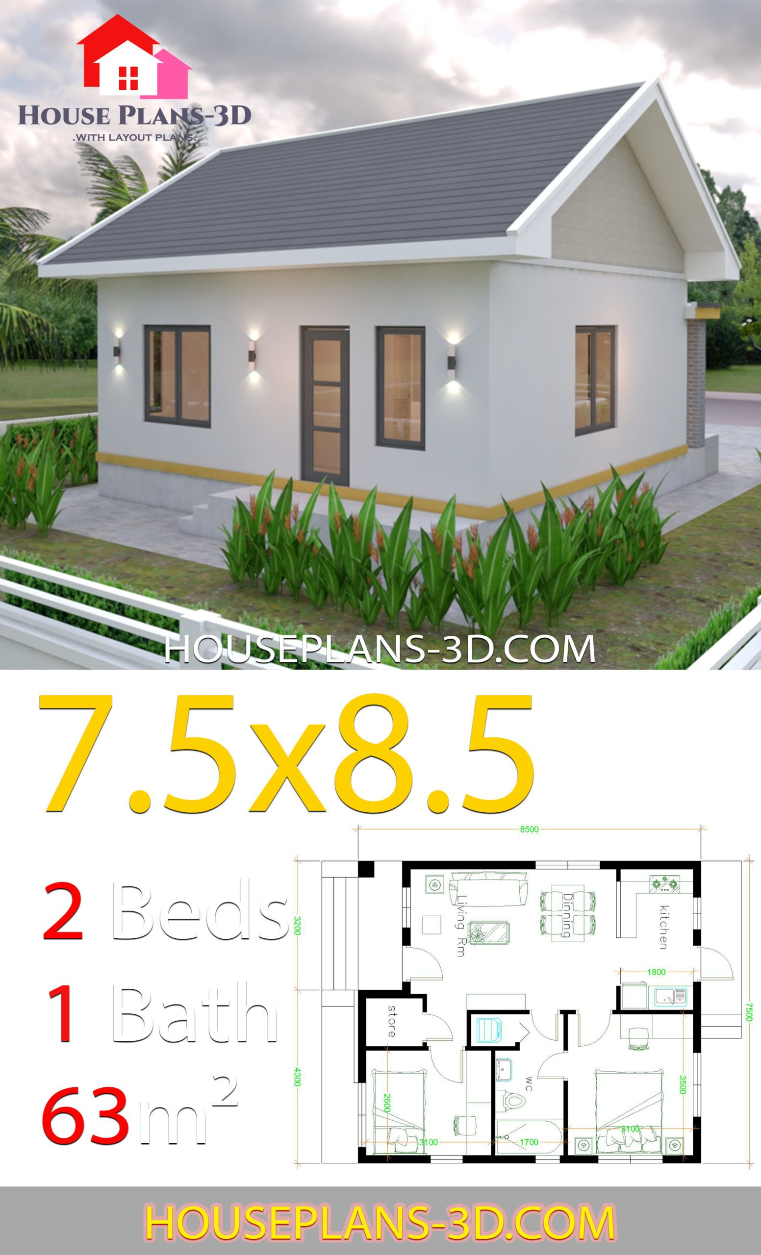 House Plans 7 5x8 5m With 2 Bedrooms Gable Roof House Plans 3d Gable Roof House Cottage House Exterior Small House Exteriors