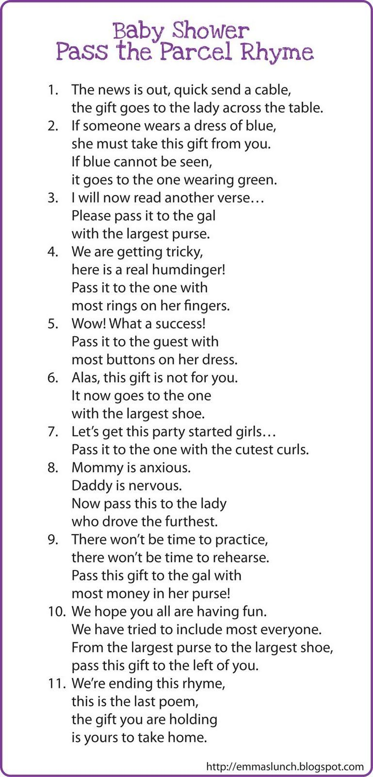 interesting game baby shower pass the parcel rhyme fight for