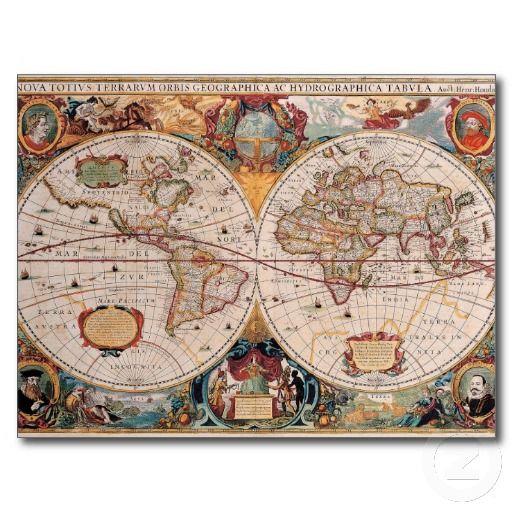Vintage antique old world map design faded print postcard stuff vintage antique old world map design faded print postcard gumiabroncs Image collections
