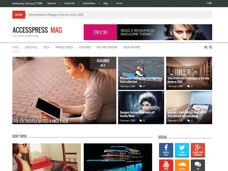 Accesspress Mag adalah theme wordpress responsive gratis yang di ...